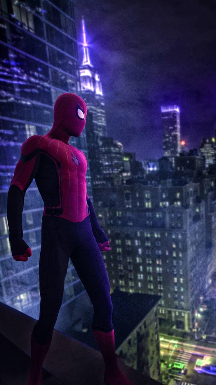 Night City Spiderman iPhone Wallpaper