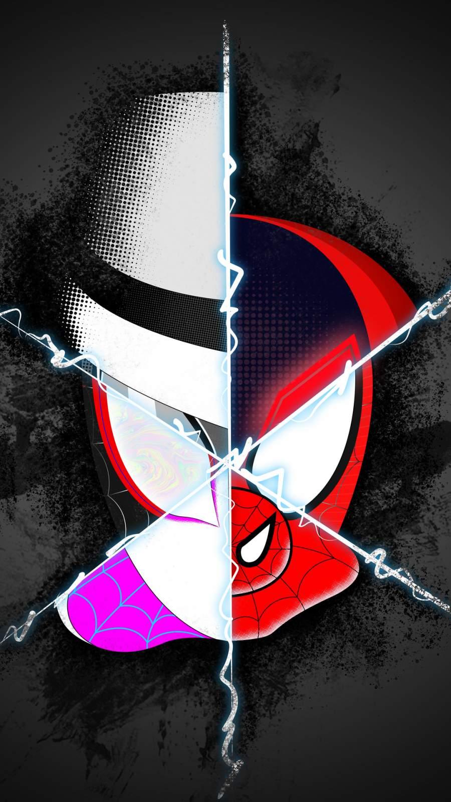 Spider Verse Spiderman Faces iPhone Wallpaper