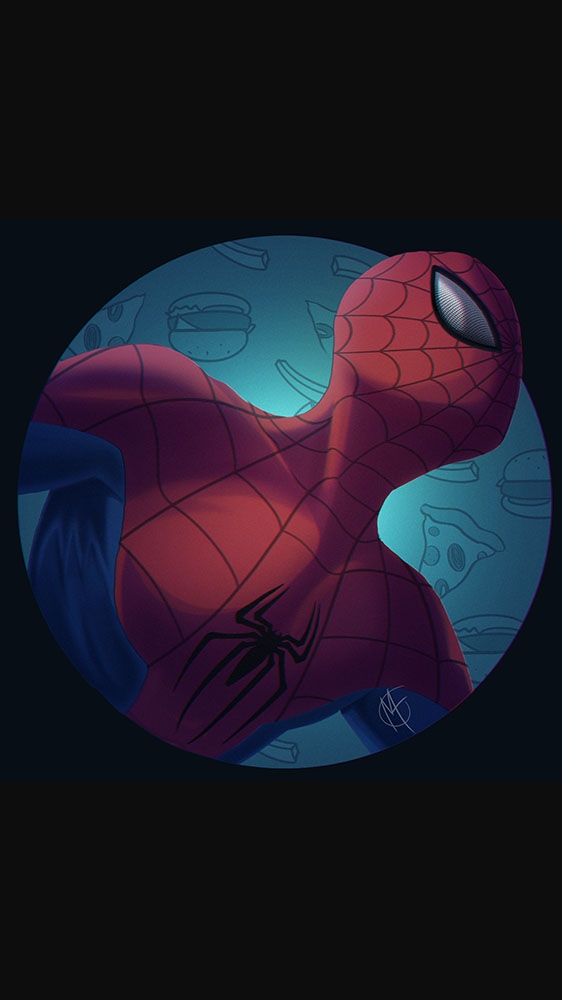 Spiderman Dark Minimal Art iPhone Wallpaper