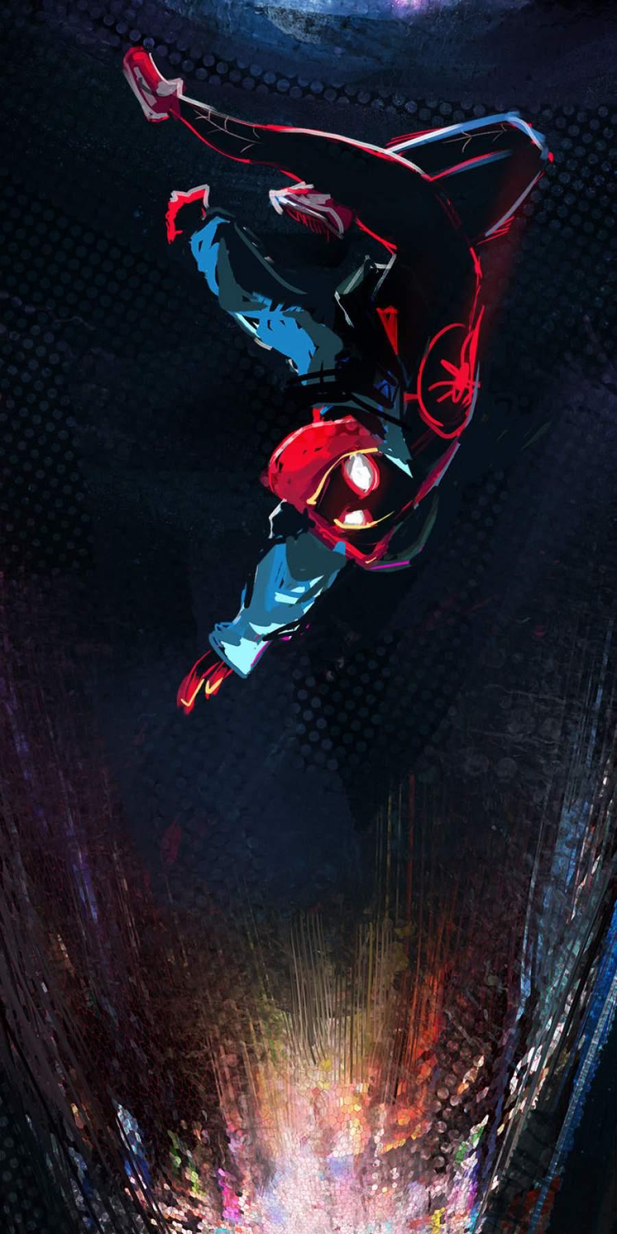 Spiderman Miles Morales Falling iPhone Wallpaper