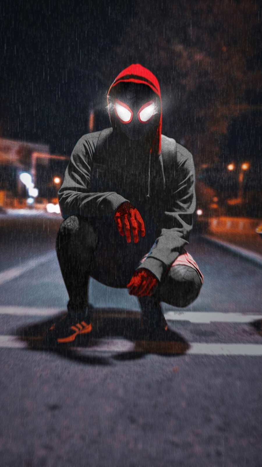 Spiderman in Hoodie Night Monkey iPhone Wallpaper