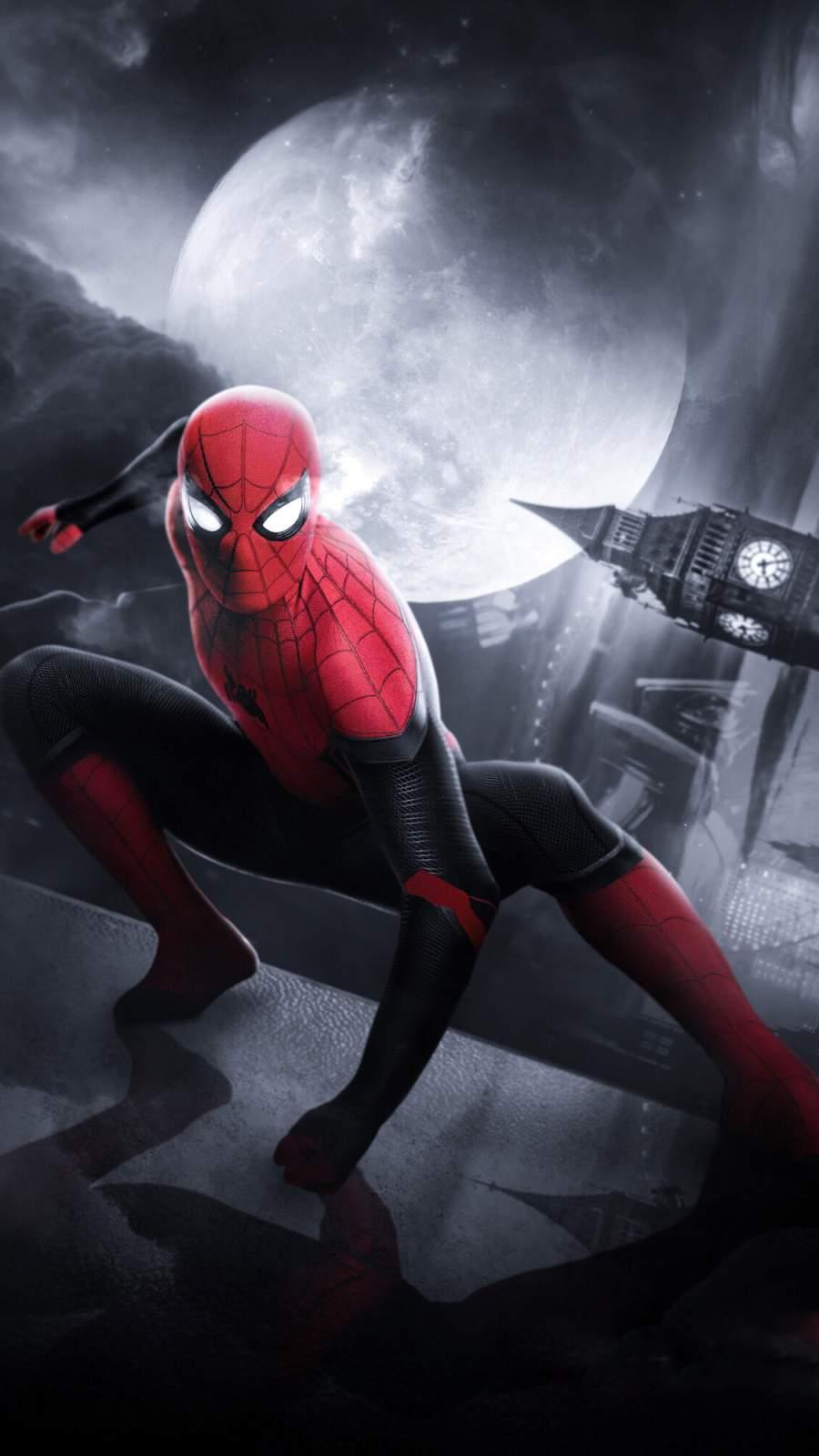 Spiderman in London Art iPhone Wallpaper