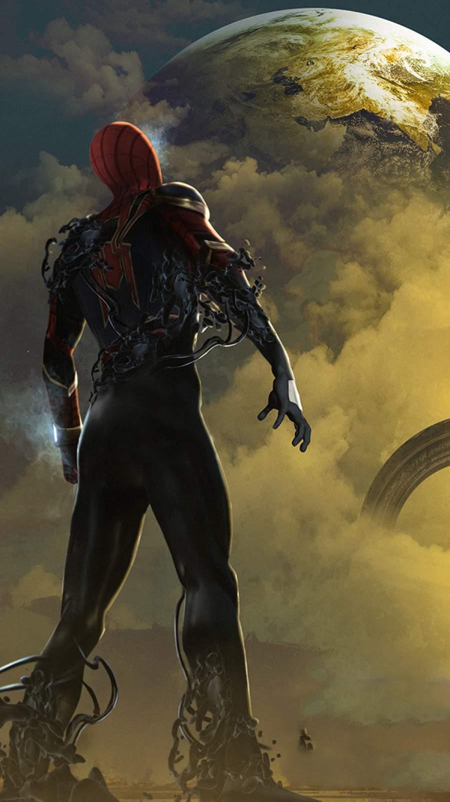 Spiderman on Venom Planet iPhone Wallpaper