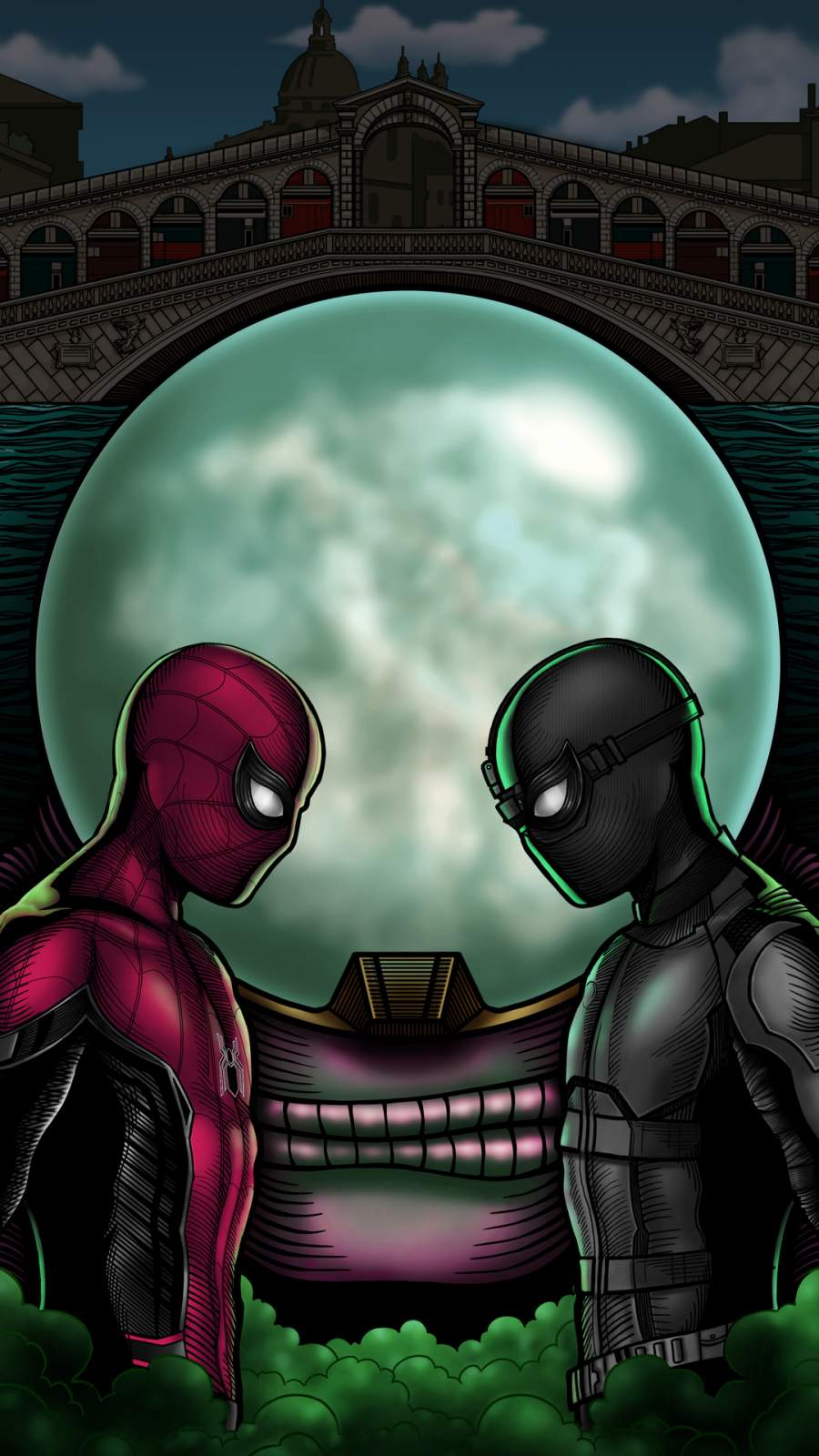 Spiderman vs Black Spider iPhone Wallpaper
