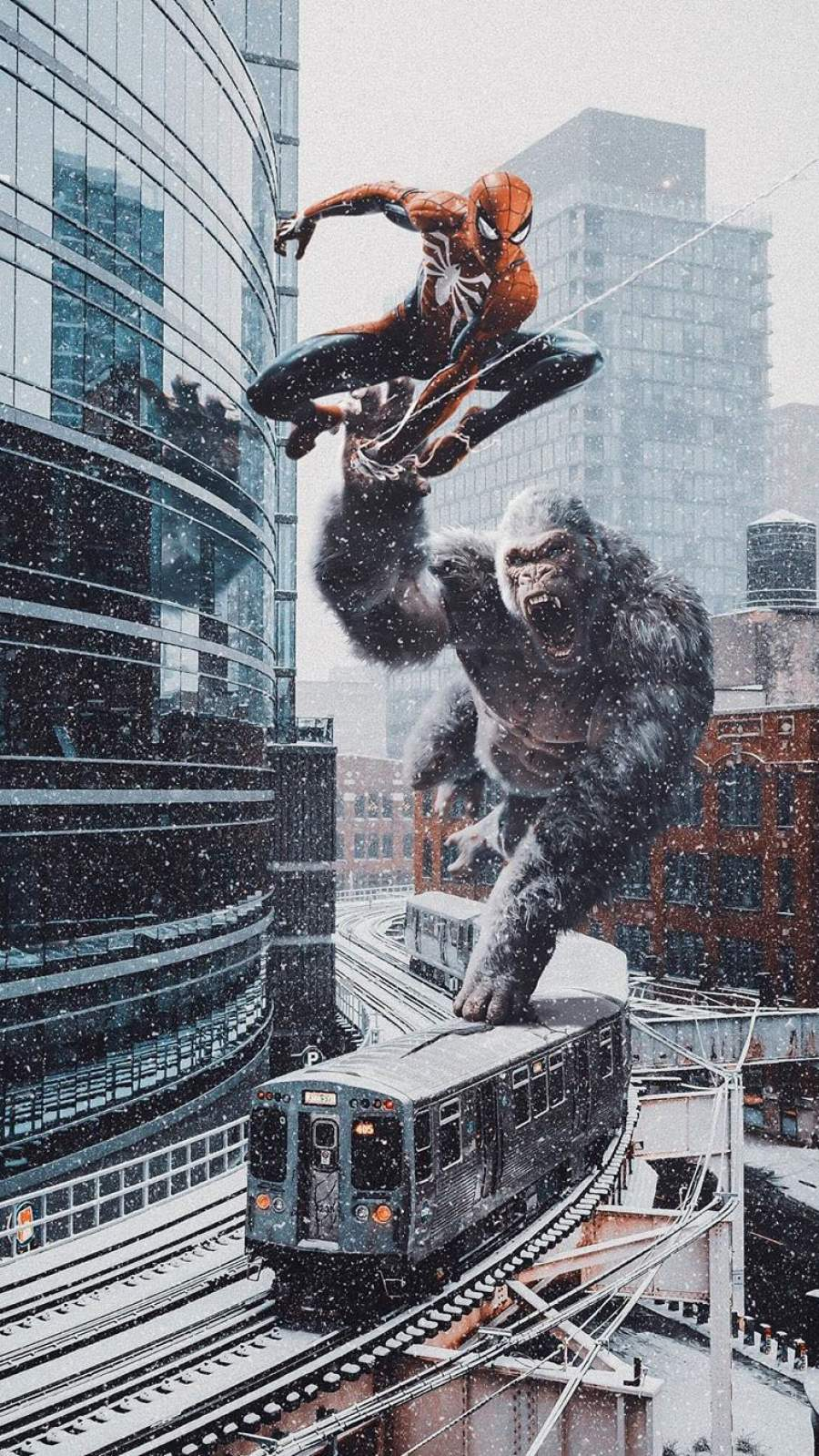 Spiderman vs King Kong iPhone Wallpaper