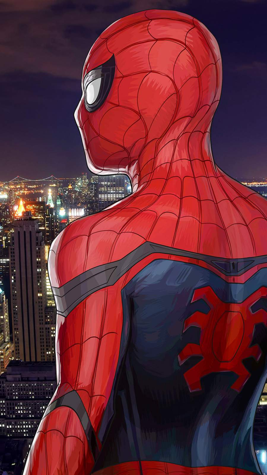 Spidey and City iPhone Wallpaper