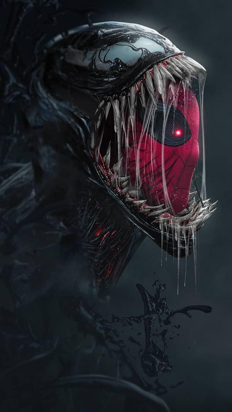 Spidey in Venom iPhone Wallpaper