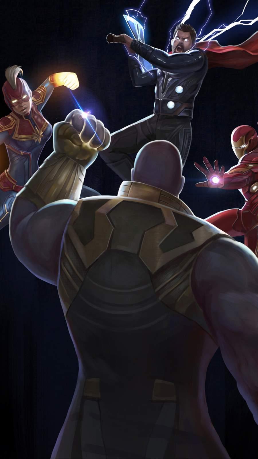 Thanos vs Avengers Art iPhone Wallpaper