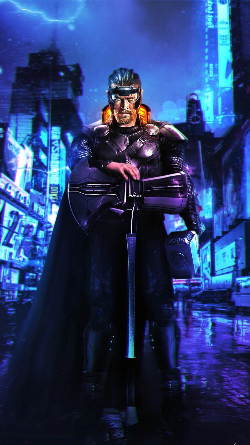Thor Cyberpunk iPhone Wallpaper
