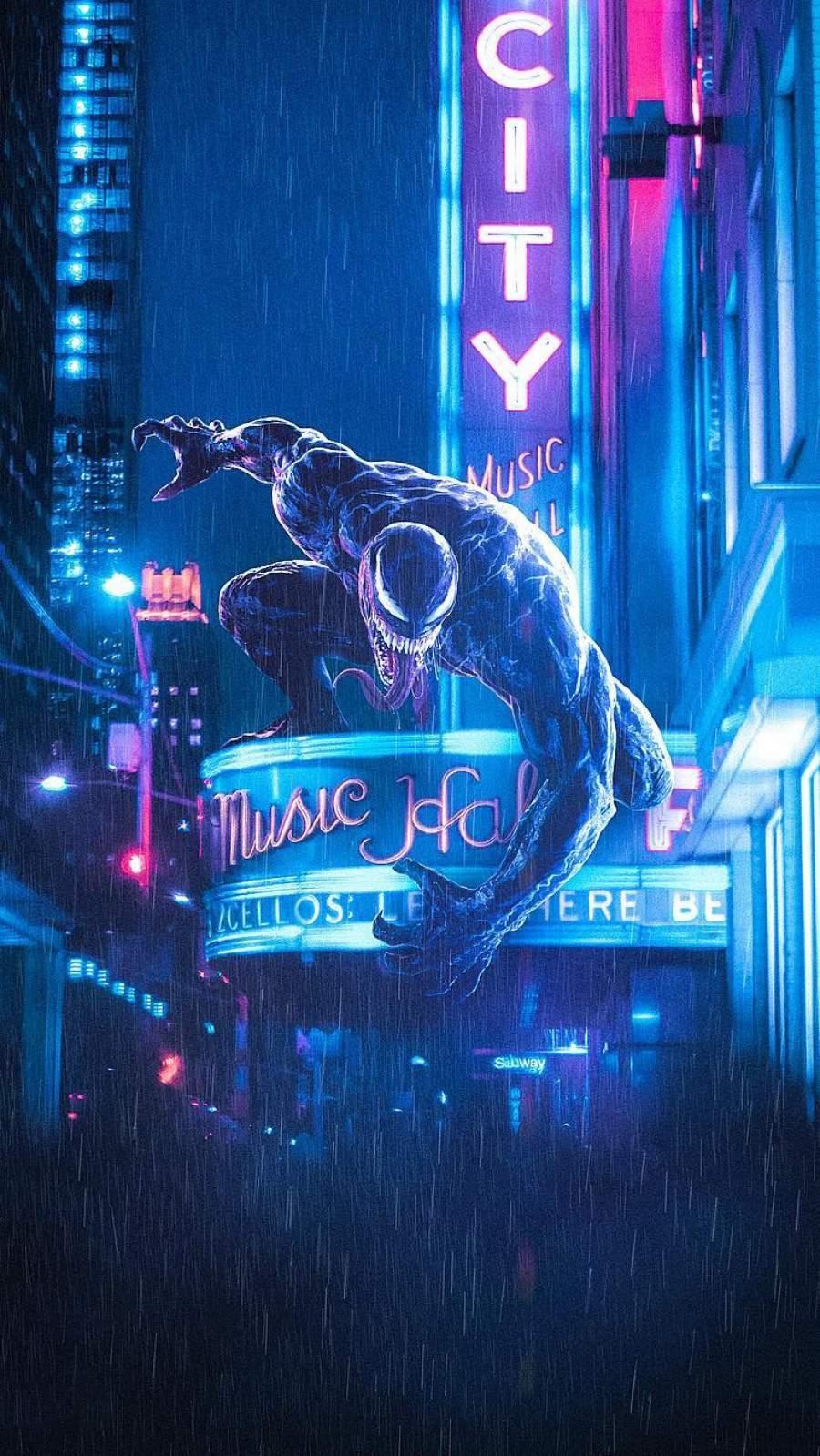 Venom Night Hunt iPhone Wallpaper