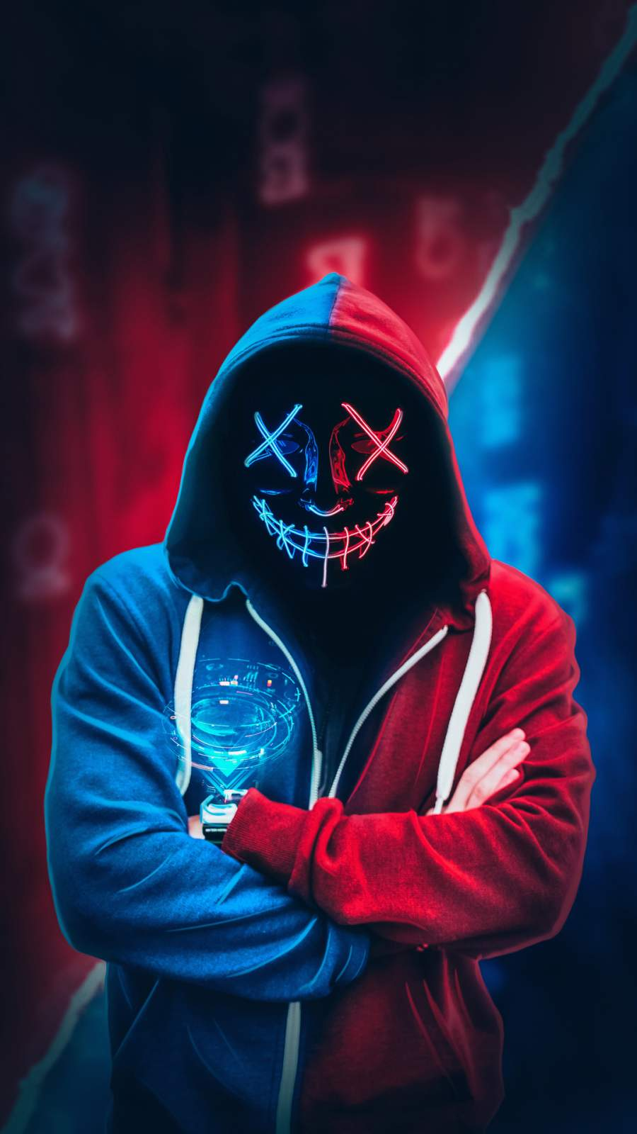 Anonymous Neon Mask Hoodie iPhone Wallpaper