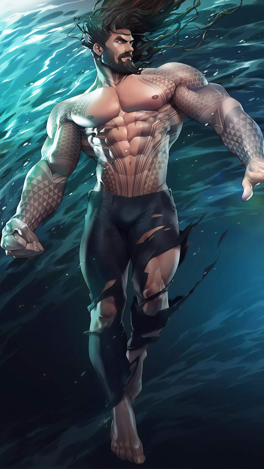 Aquaman Art iPhone Wallpaper