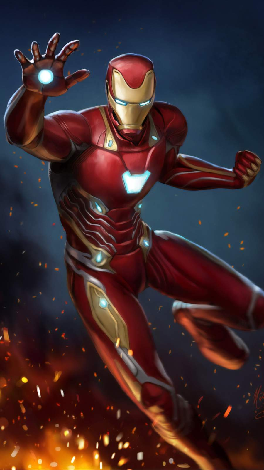Art Iron Man Mark 50 iPhone Wallpaper
