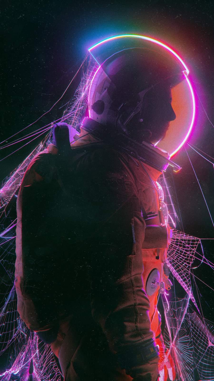 Astronaut in Web iPhone Wallpaper