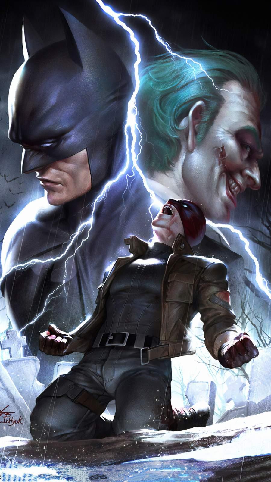 Batman Joker Red Hood iPhone Wallpaper
