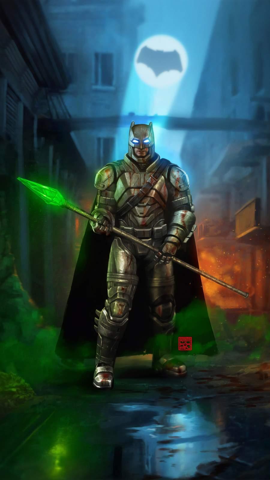 Batman with Krypton Sword iPhone Wallpaper