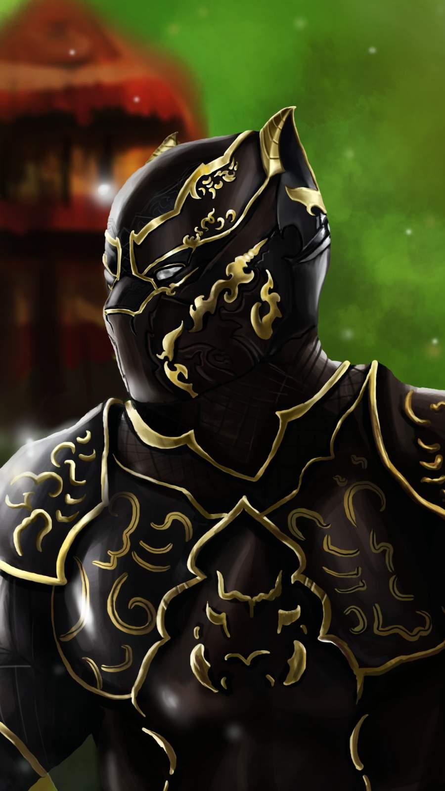 Black Panther Wakanda King Artwork iPhone Wallpaper