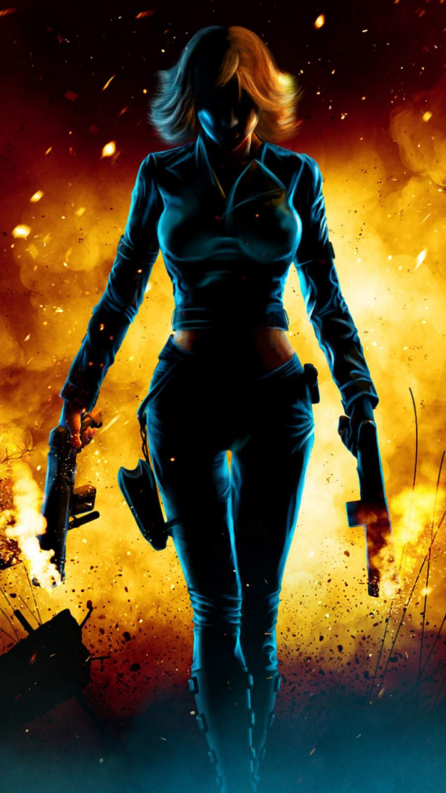 Black Widow Walking Through Fire iPhone Wallpaper