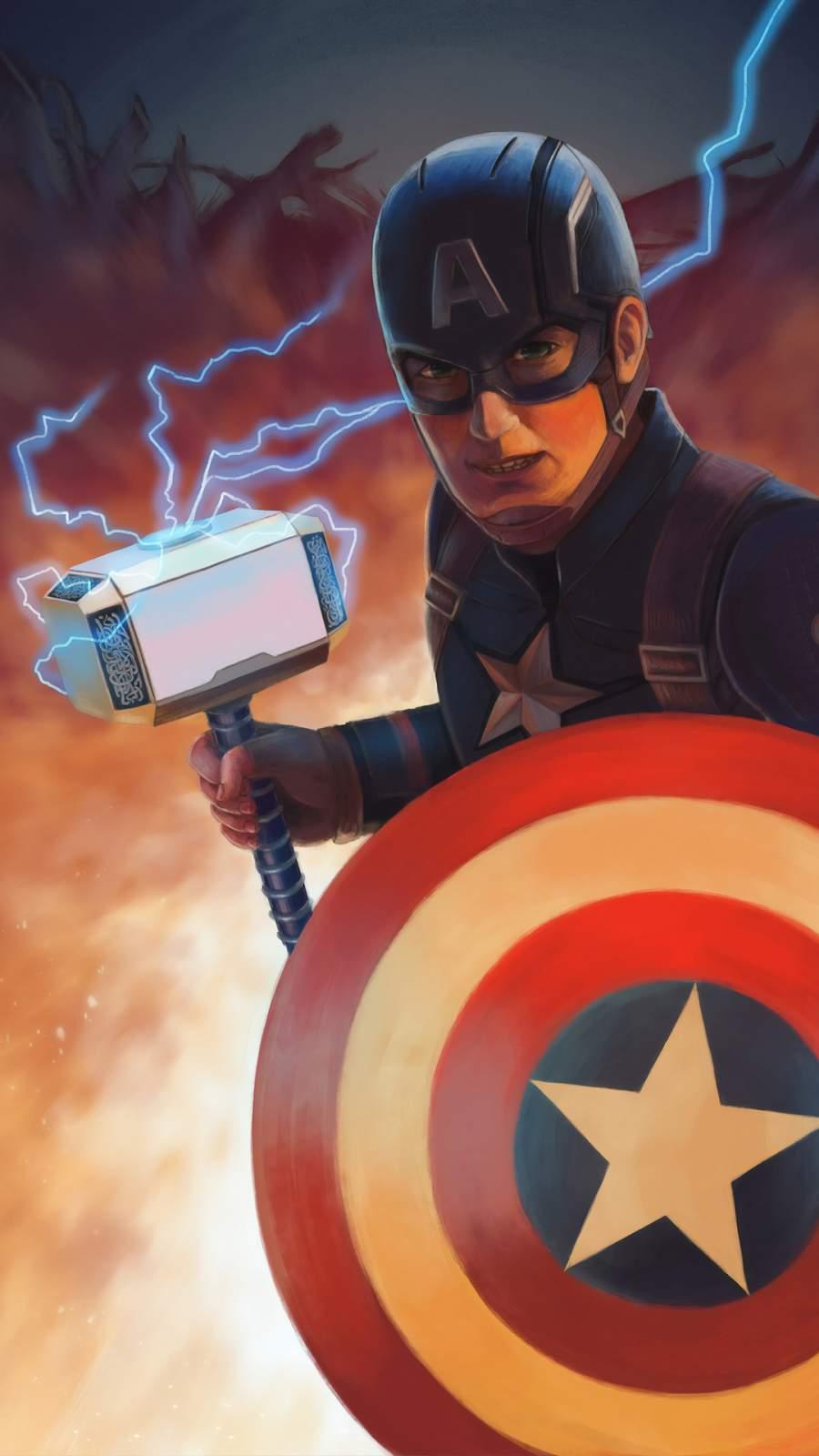Captain America Mjolnir Art iPhone Wallpaper 1