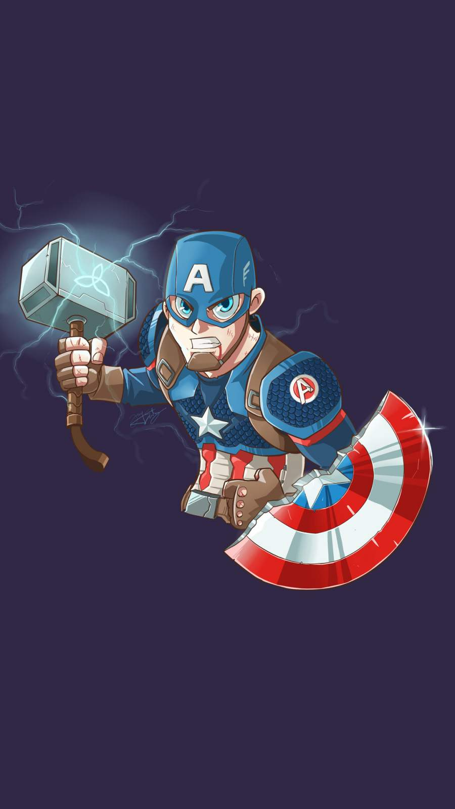 Captain America Mjolnir Art iPhone Wallpaper