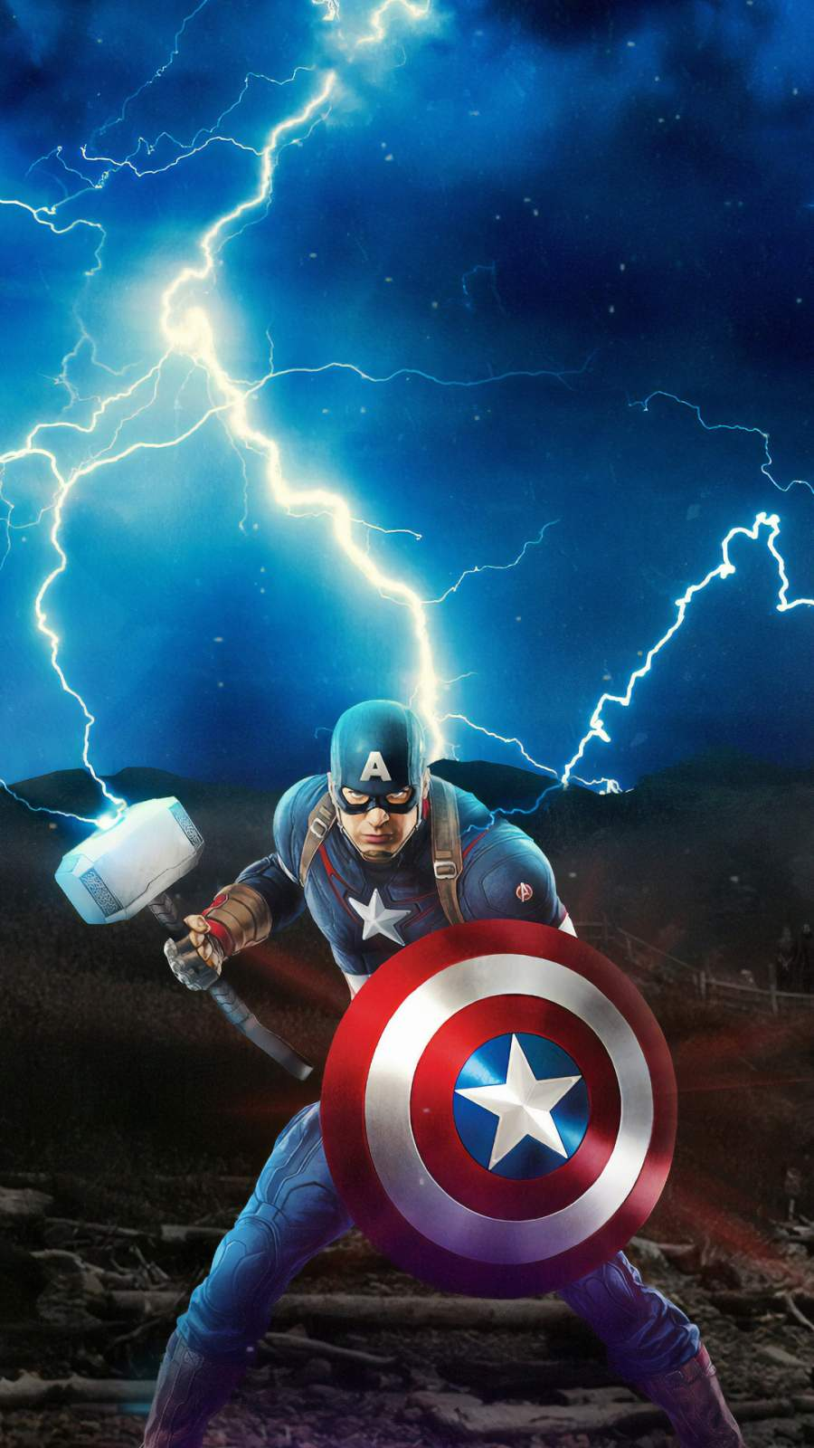 Captain America Mjolnir Avengers iPhone Wallpaper