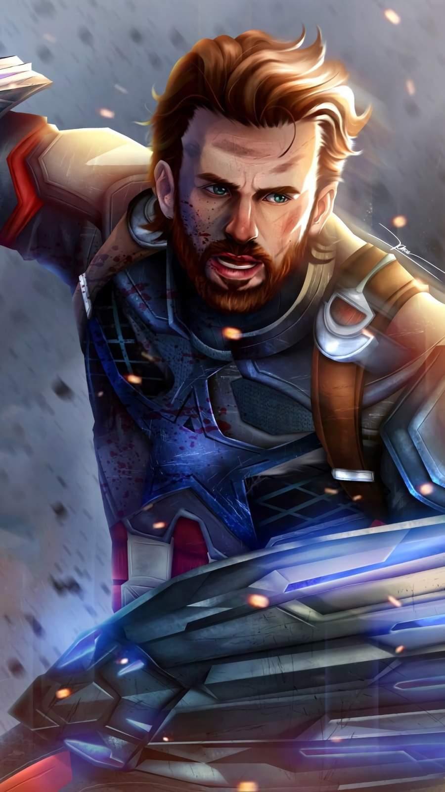 Captain America New Art iPhone Wallpaper