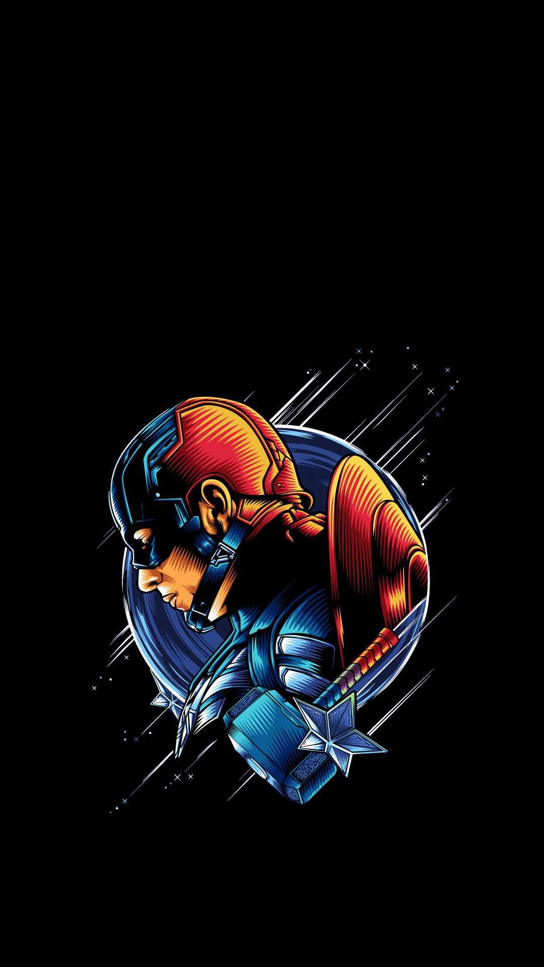 Captain America Simple Artwork iPhone Wallpaper