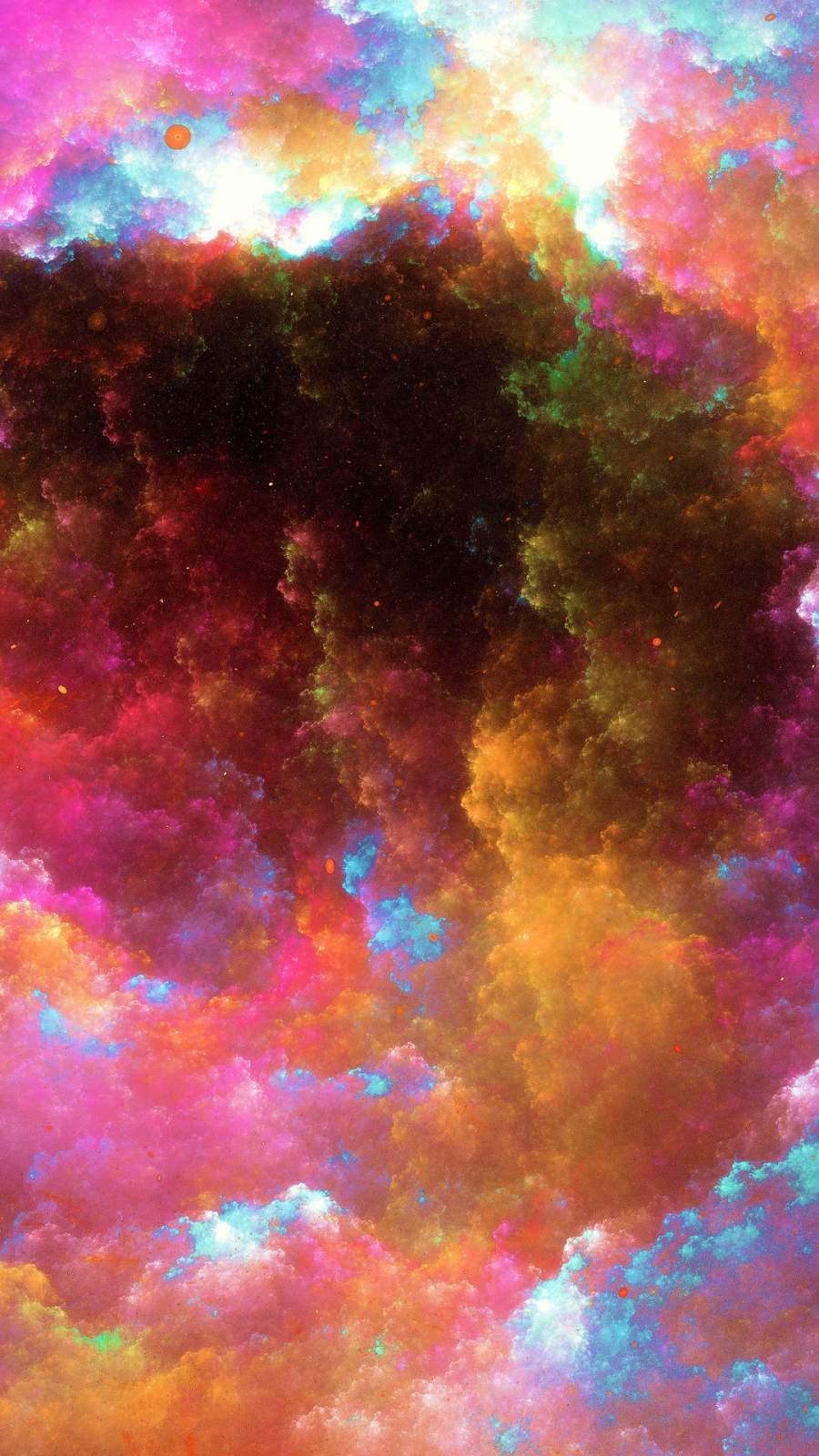 Colorful Nebula Digital Art iPhone Wallpaper