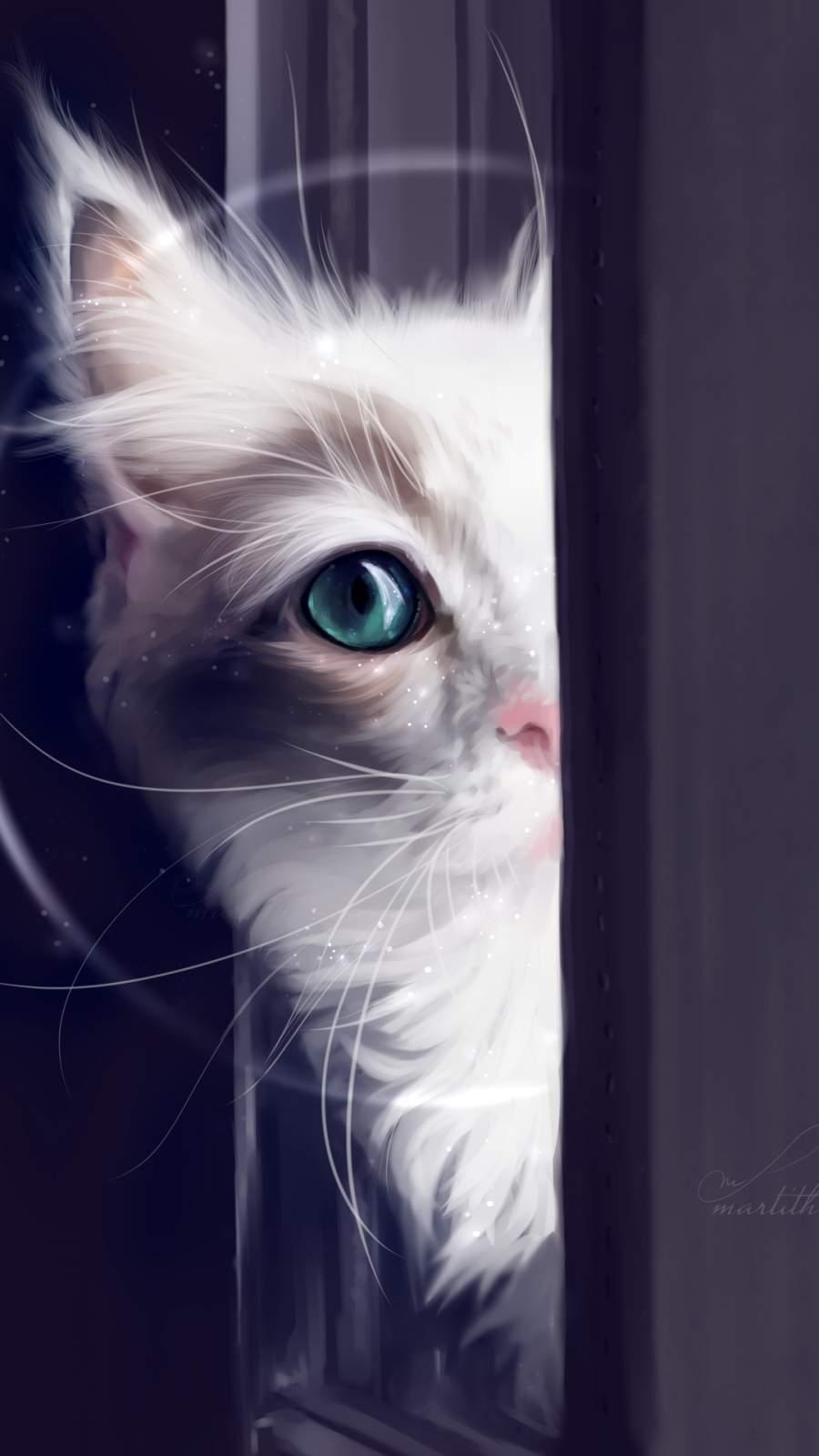 Cute Cat Green Eyes iPhone Wallpaper