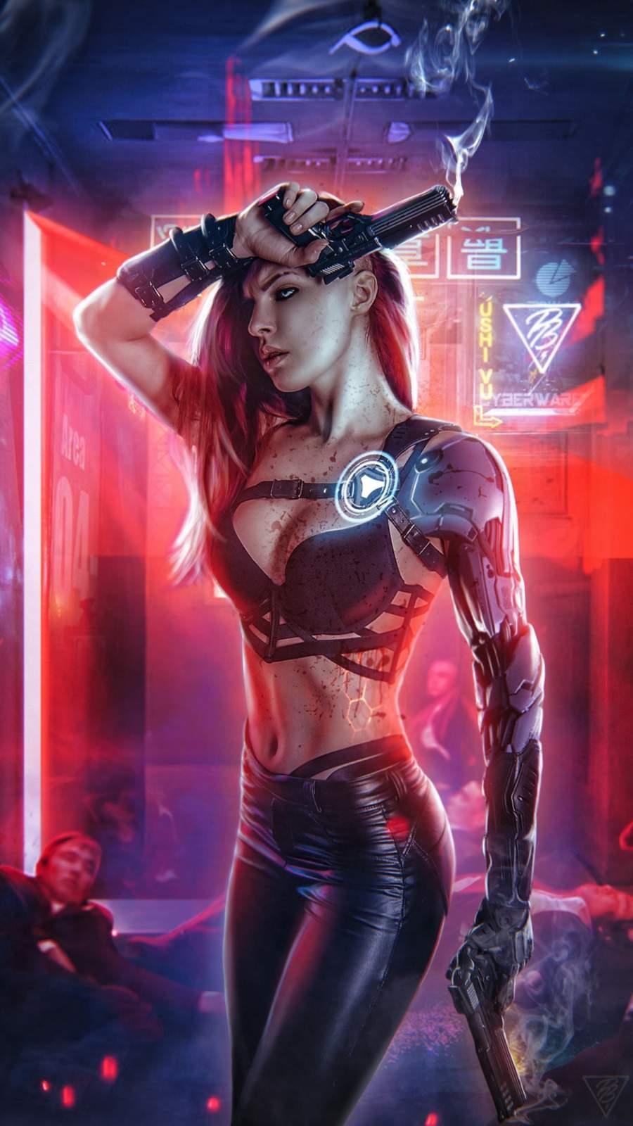 Cyberpunk Girl iPhone Wallpaper