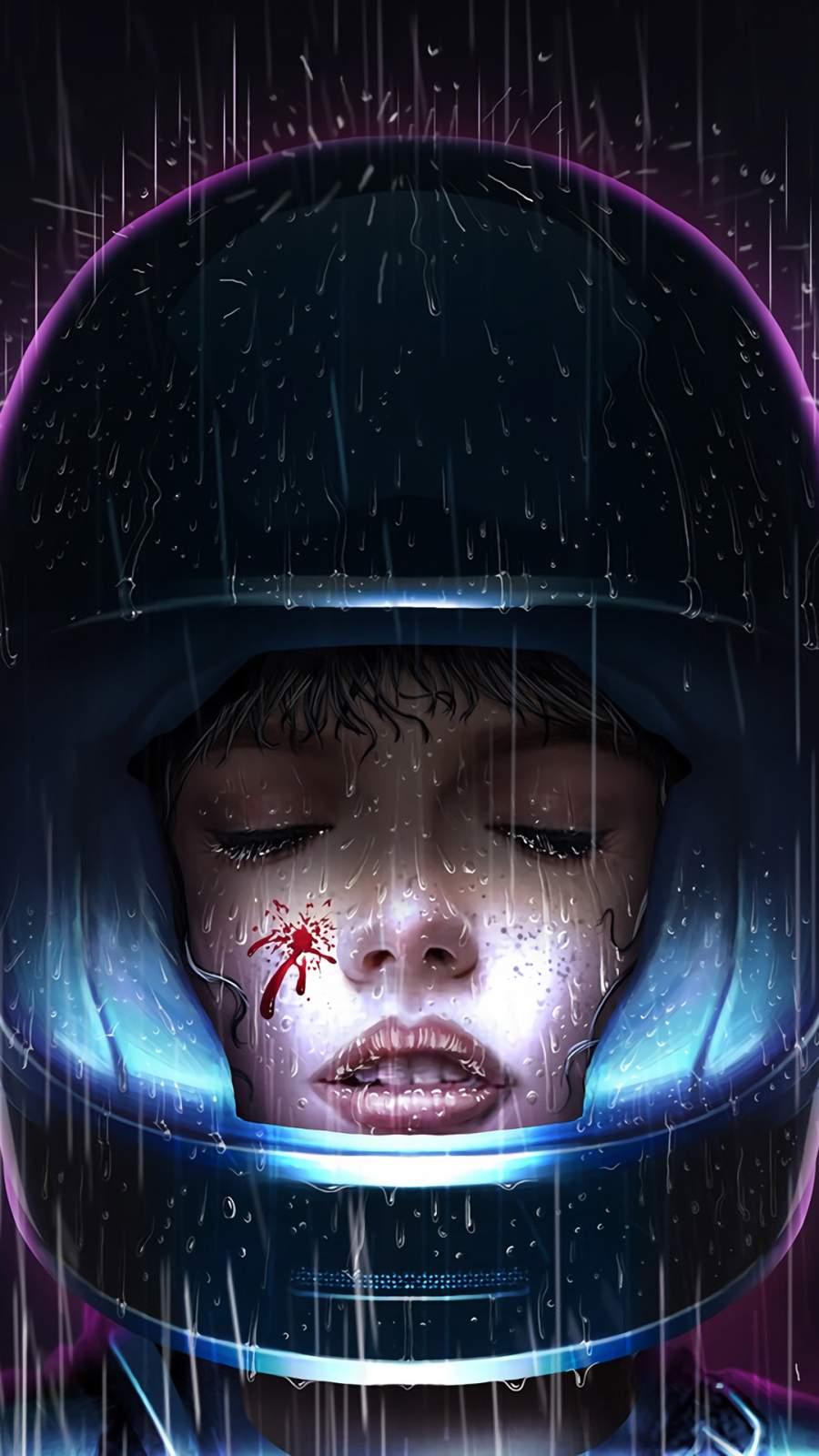 Cyberpunk Helmet Closed Eyes iPhone Wallpaper