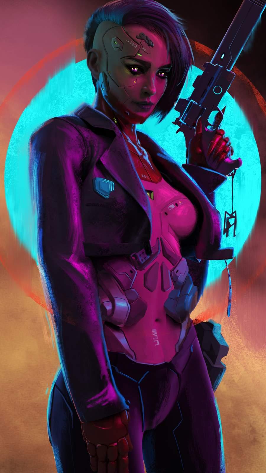 Cyborg Girl iPhone Wallpaper