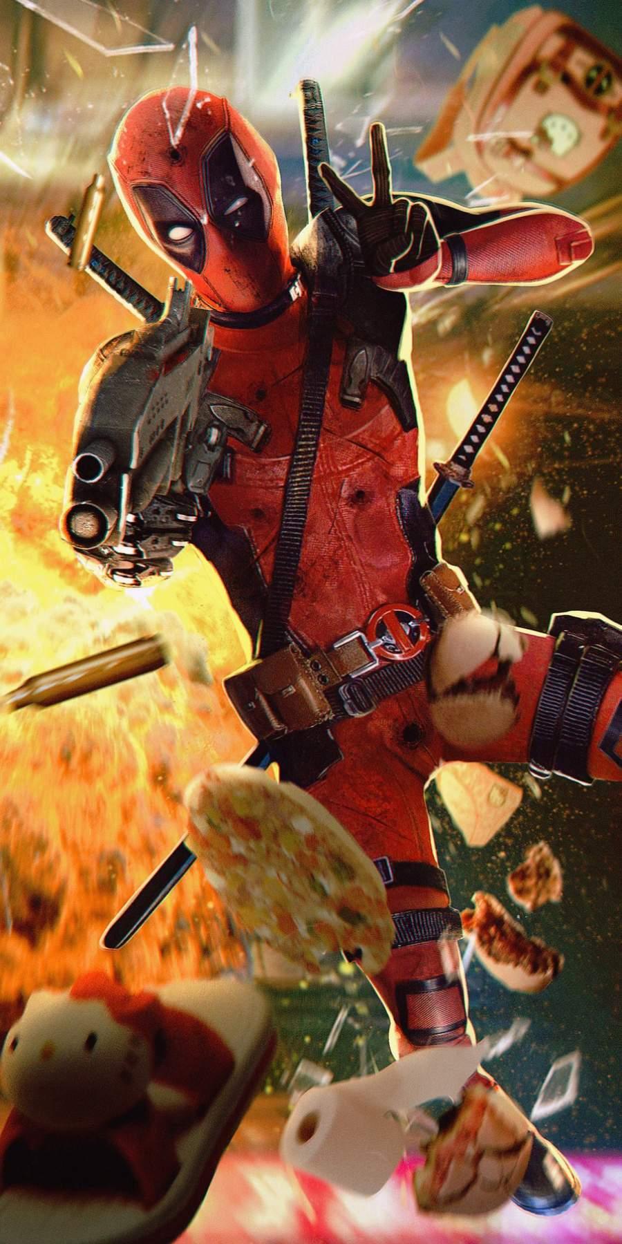 Deadpool Action iPhone Wallpaper