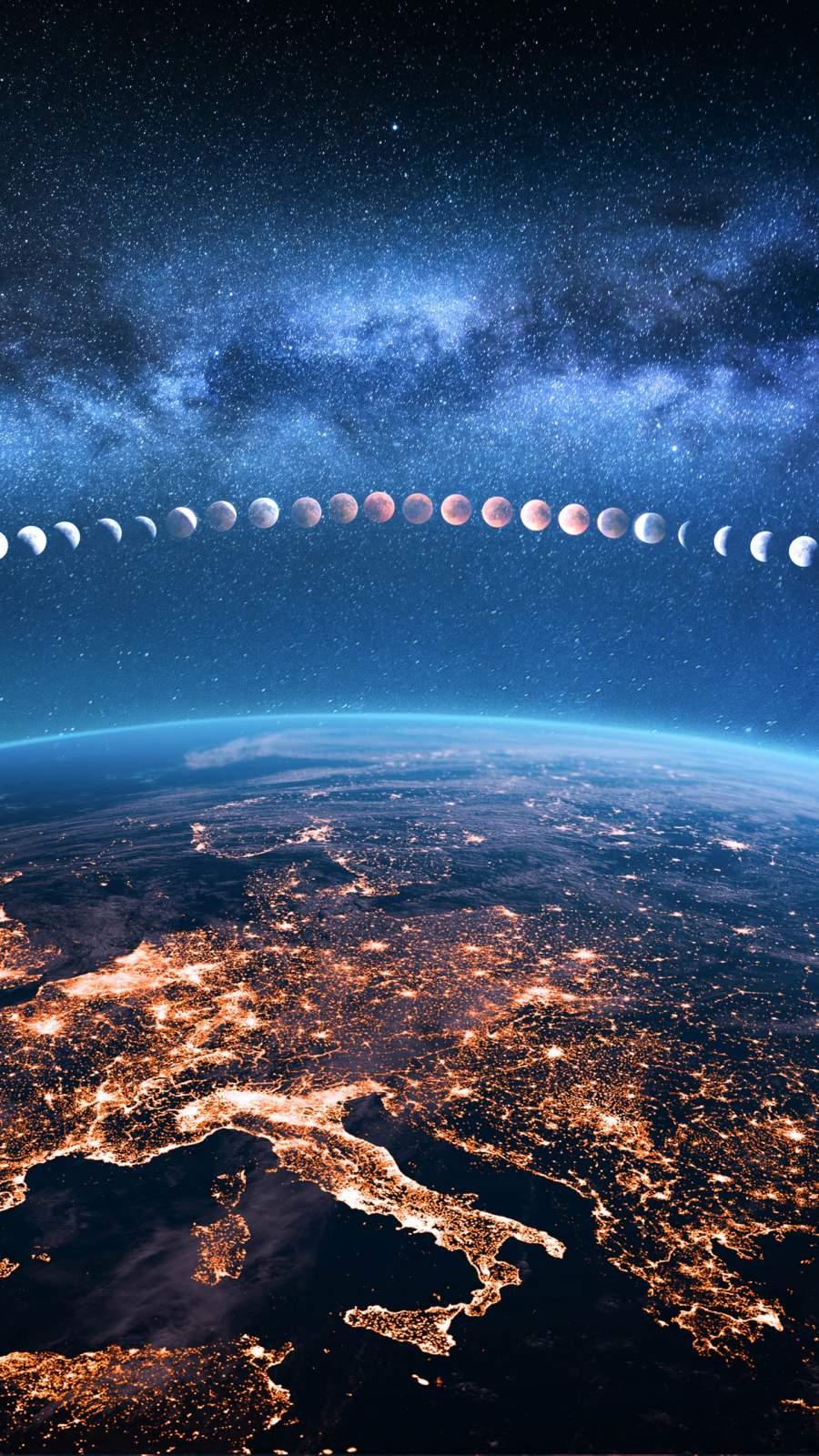 Earth Lunar Eclipse iPhone Wallpaper