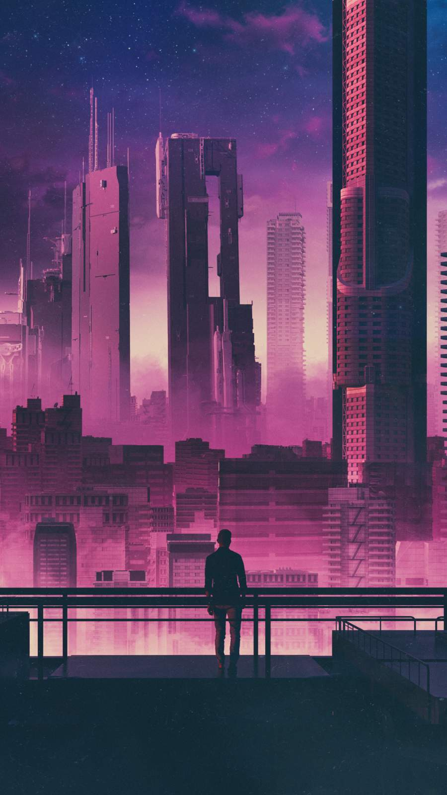 Future City and Man iPhone Wallpaper