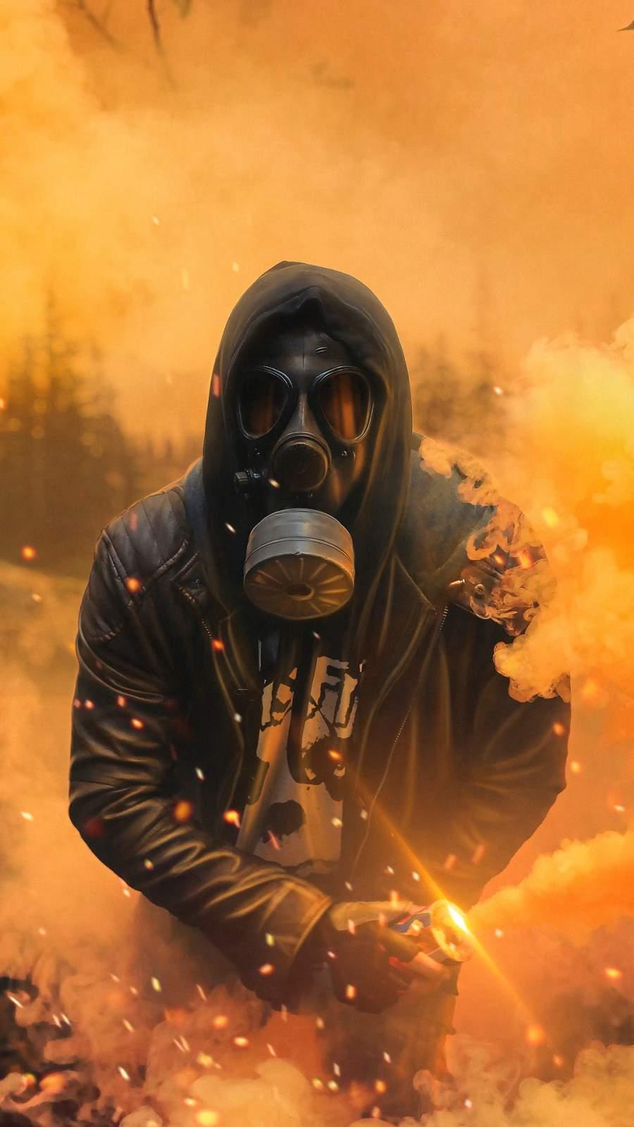 Gas Mask Hoodie Guy iPhone Wallpaper
