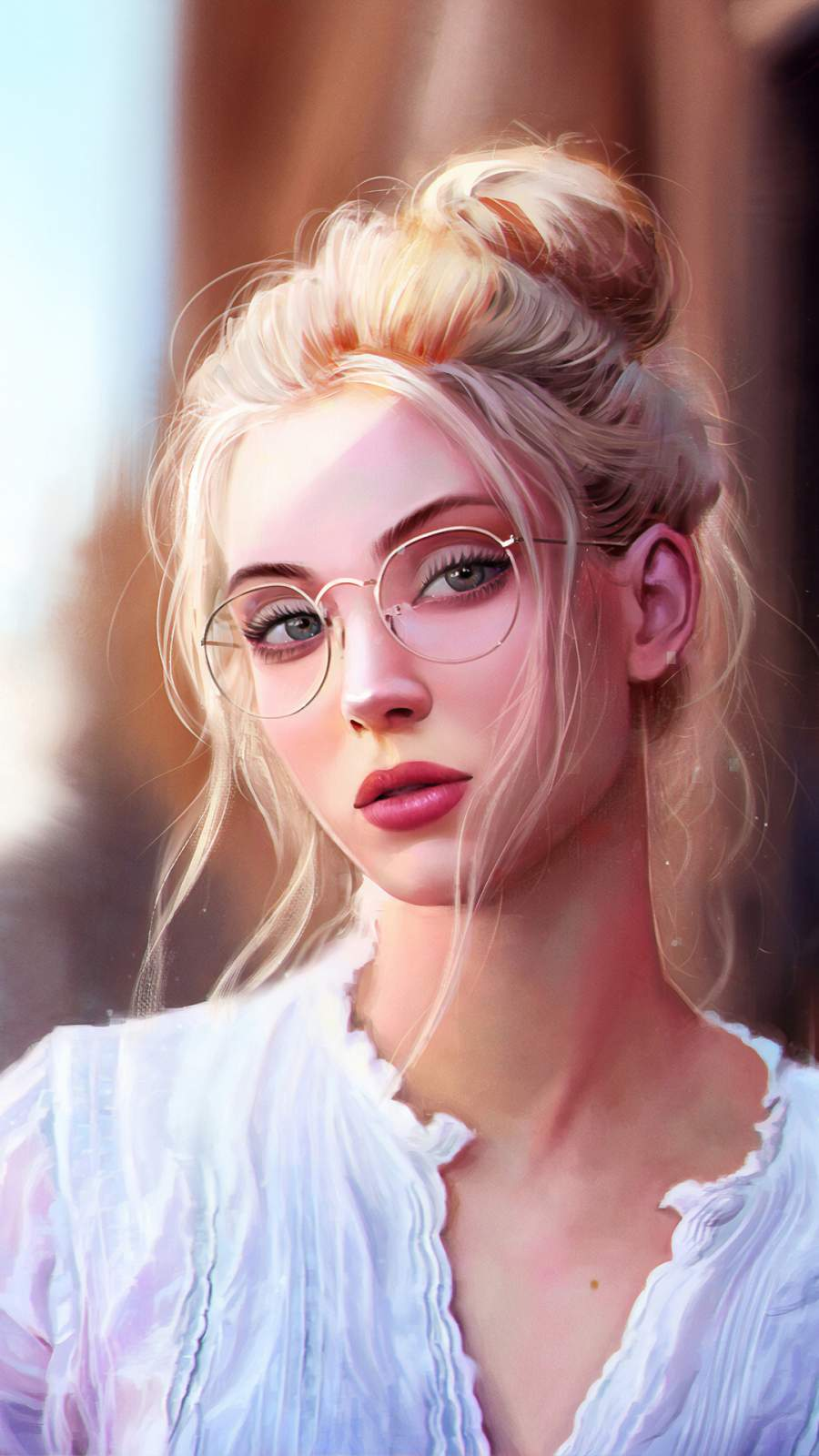 Girl with Glasses Artistic Portrait iPhone Wallpaper
