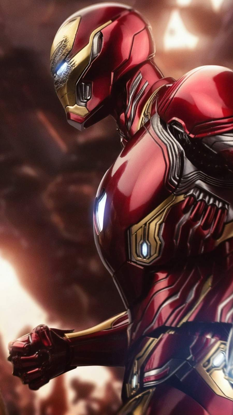 Iron Man Mark 50 Fighting Thanos iPhone Wallpaper