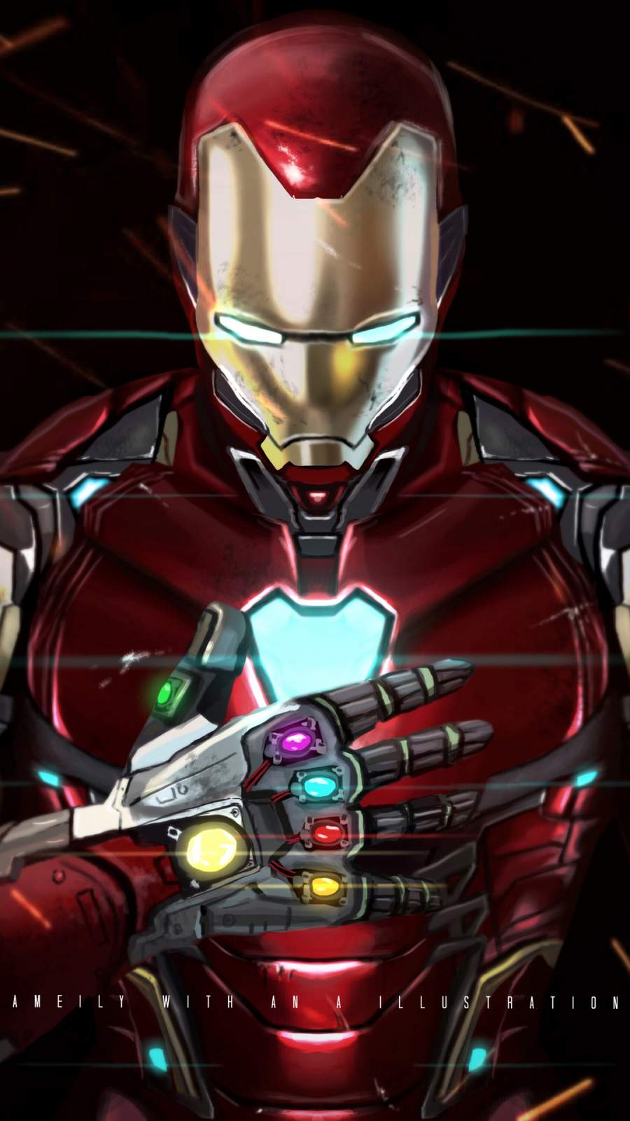 Iron Man with Infinity Gauntlet iPhone Wallpaper