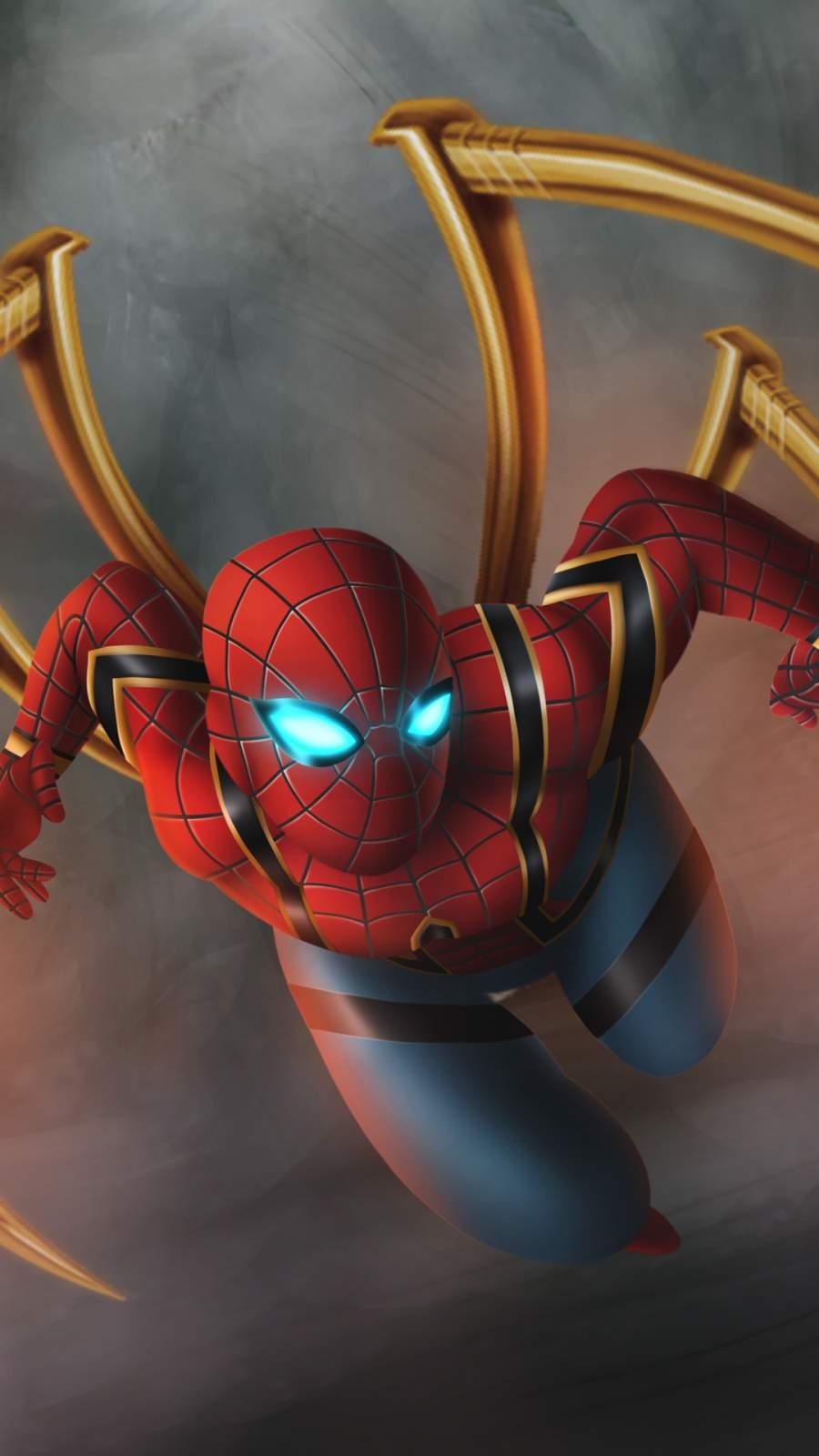 Iron Spiderman Artwork iPhone Wallpaper