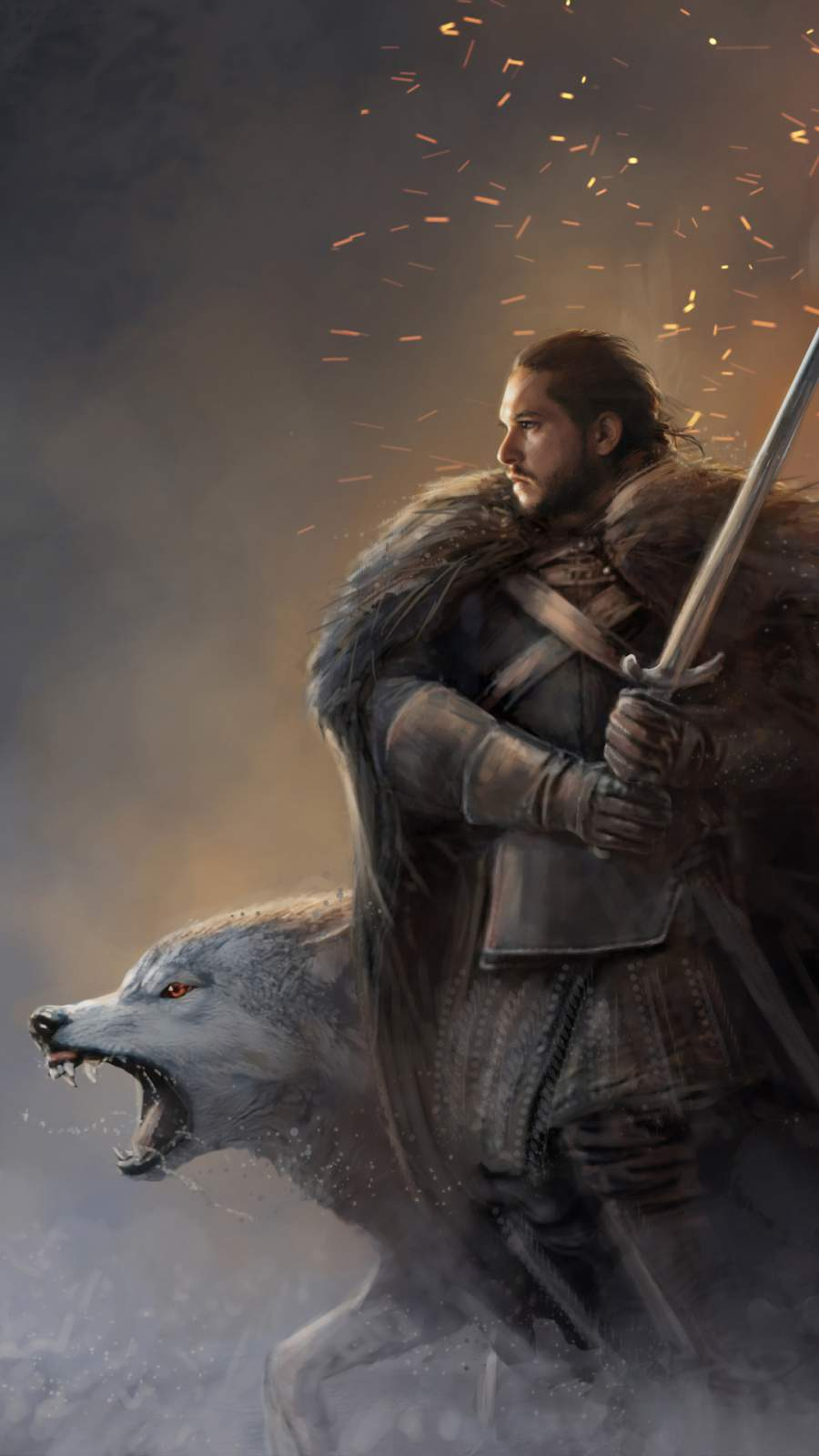 Jon Snow and Ghost iPhone Wallpaper