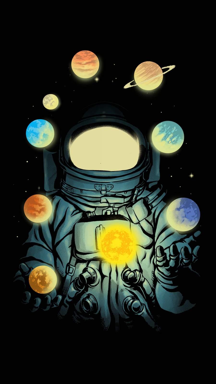 Juggling Astronaut iPhone Wallpaper