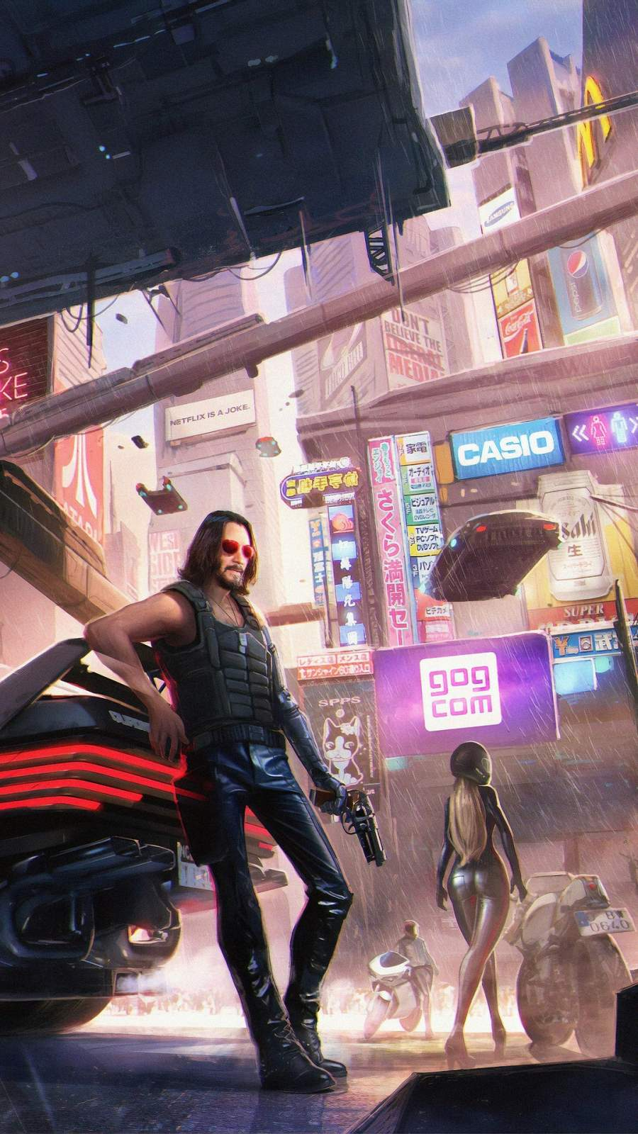 Keanu Reeves in Cyberpunk 2077 iPhone Wallpaper