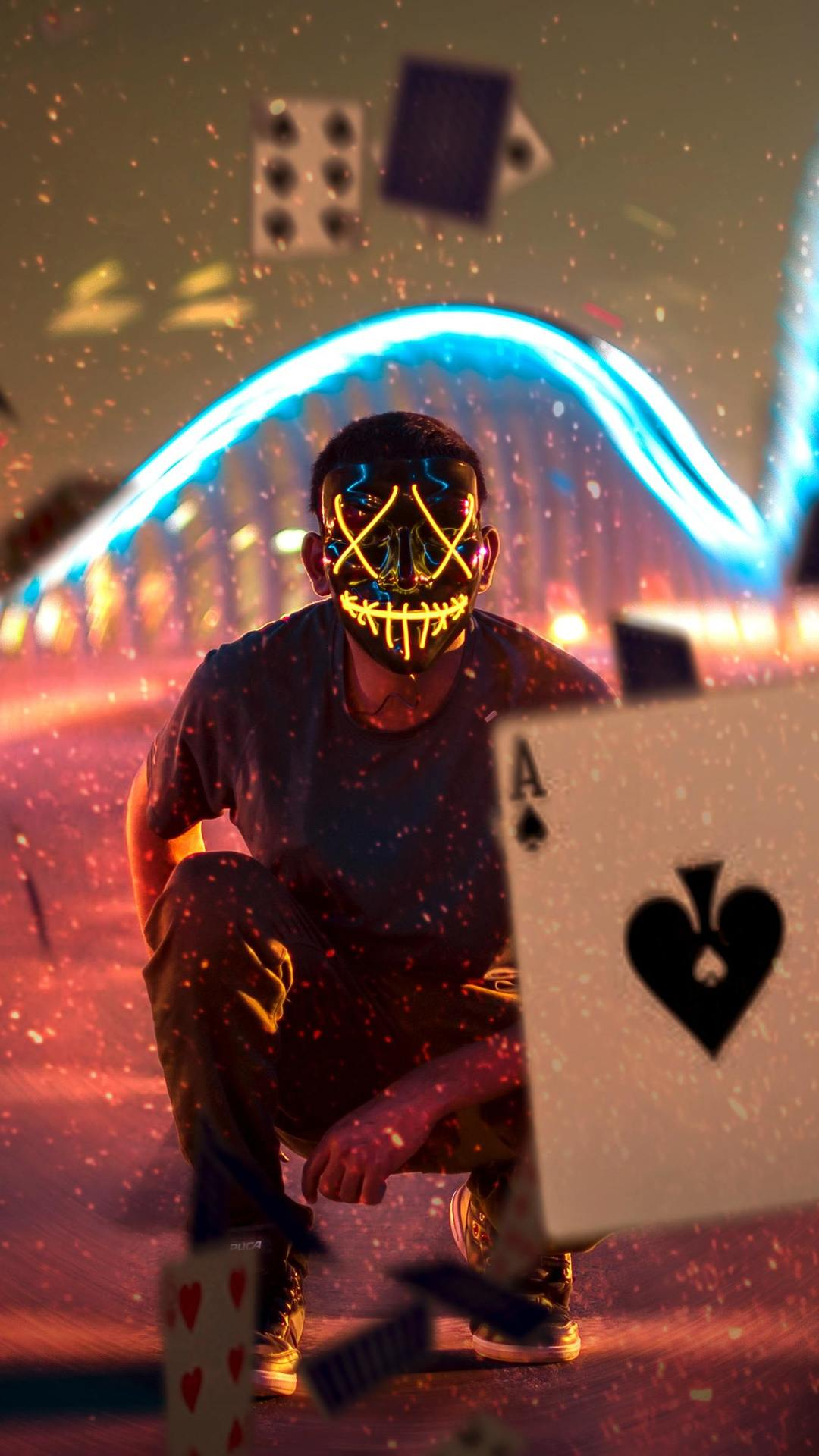 Magic Cards and Mask Guy iPhone Wallpaper