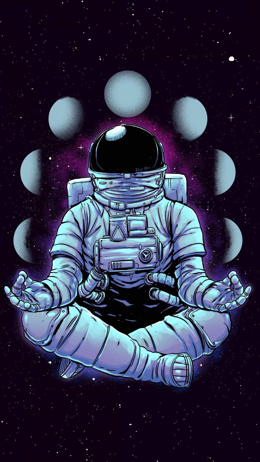 Meditation Astronaut iPhone Wallpaper