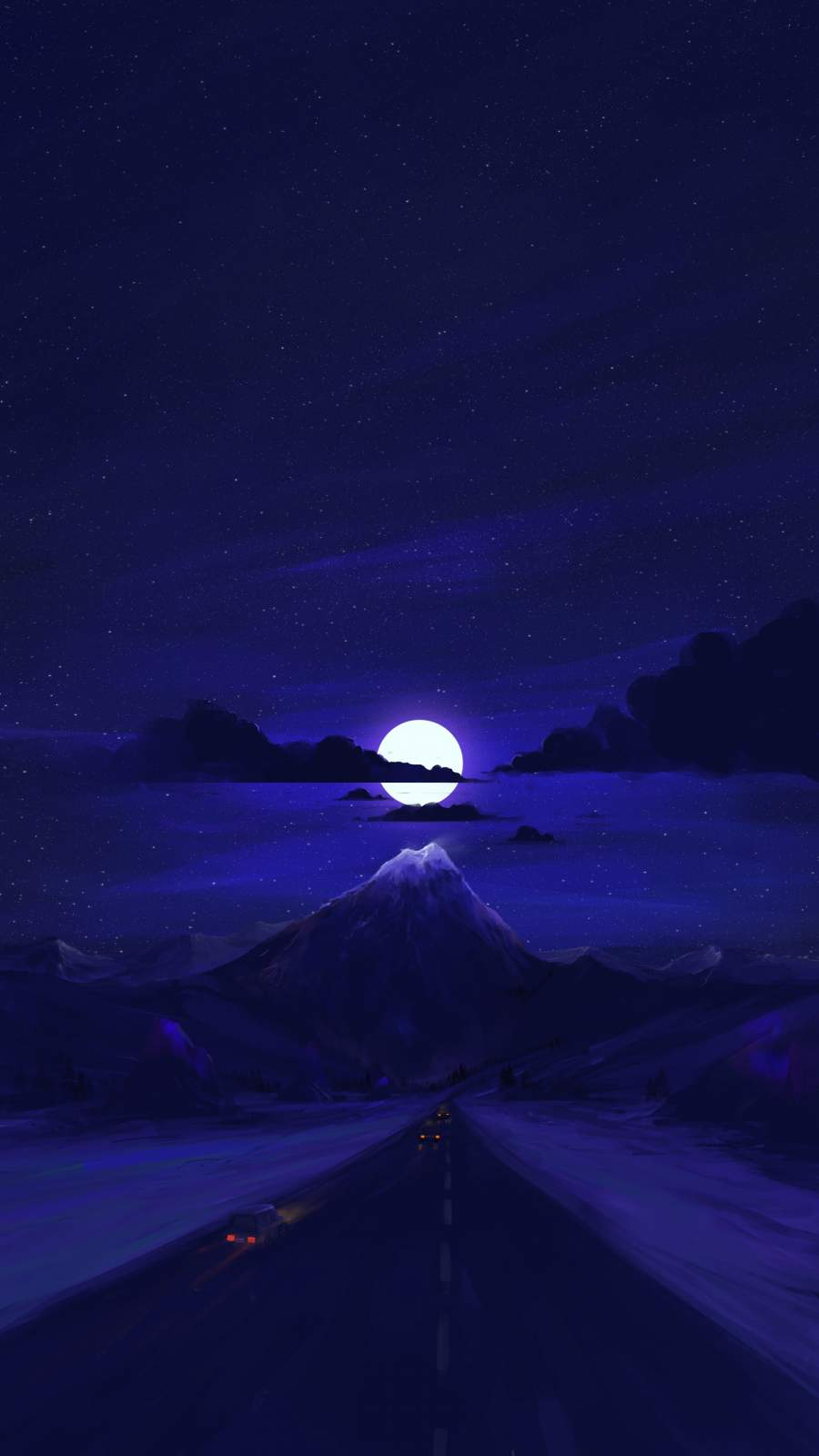 Moon Light Road iPhone Wallpaper
