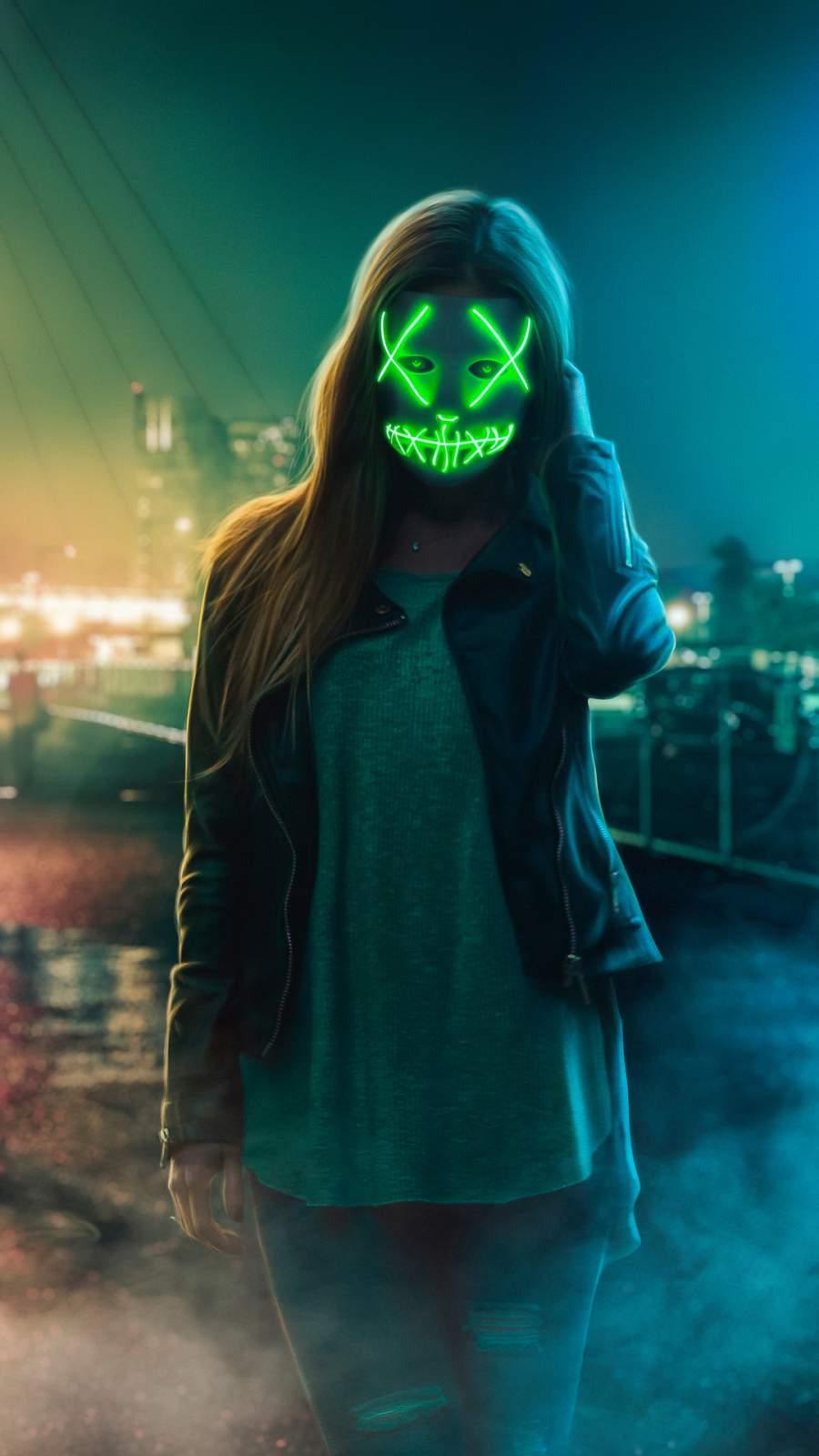 Neon Eye Mask Girl iPhone Wallpaper