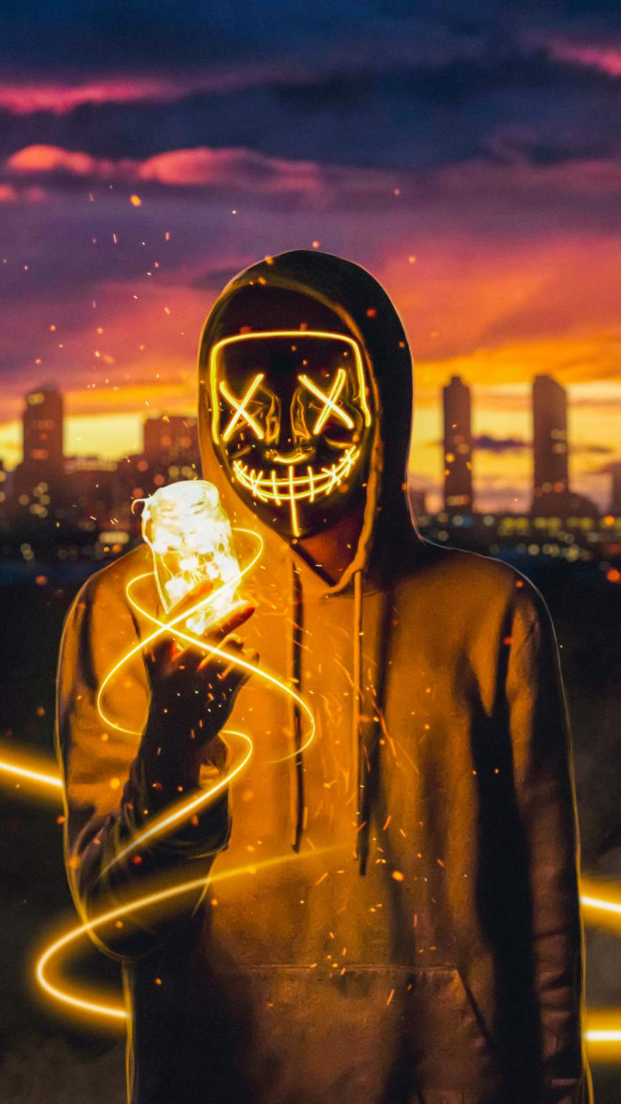 Neon Mask Guy with Light Cube iPhone Wallpaper - iPhone ...