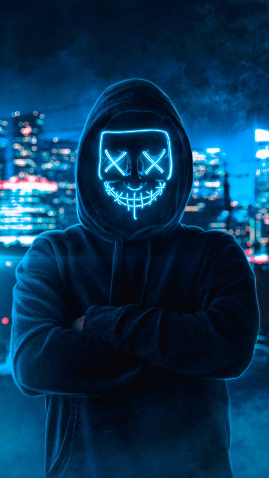 Neon Mask Hoodie Guy iPhone Wallpaper