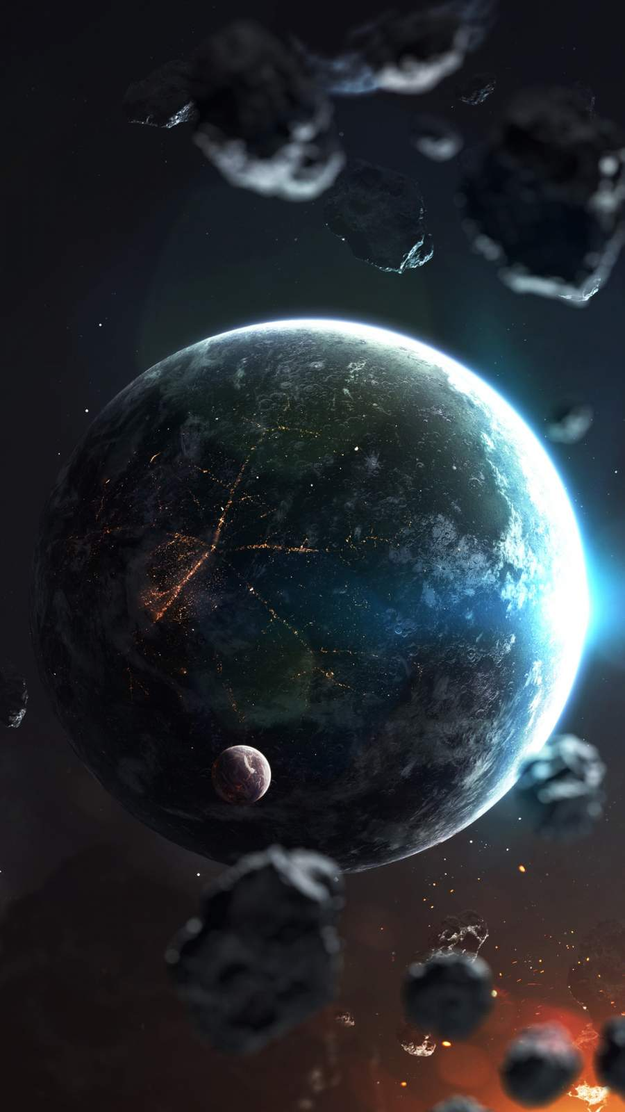 Planet and Asteroids iPhone Wallpaper
